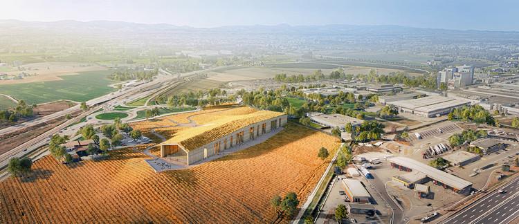Centro de Visitantes da Barilla se mescla à paisagem campestre de Pedrignano na Itália, Render por Aron Lorincz. Imagem Cortesia de Studio VAARO