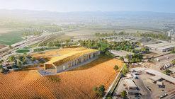 Centro de Visitantes da Barilla se mescla à paisagem campestre de Pedrignano na Itália