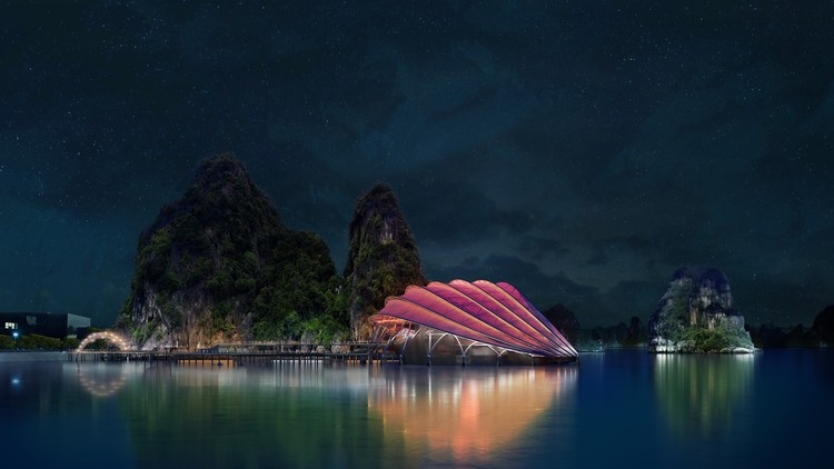 Dragões, rochas e barcos servem de inspiração para um teatro flutuante no Vietnã, © Sceno Light Architecture