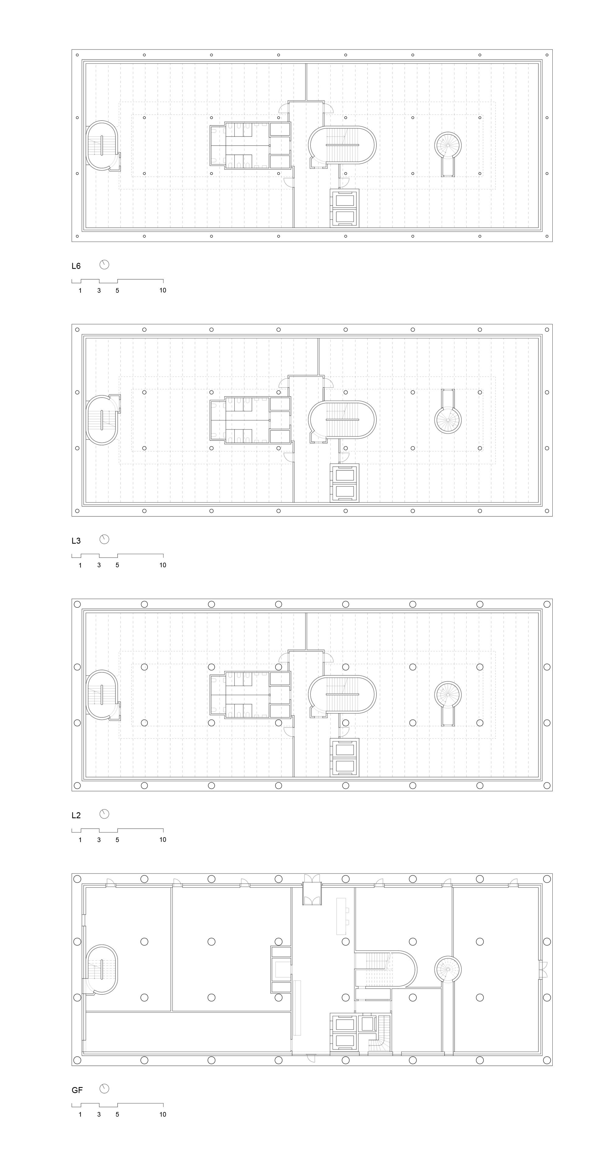 Office Building Lyon Confluence Îlot A3 / Christian Kerez. Floor Plans