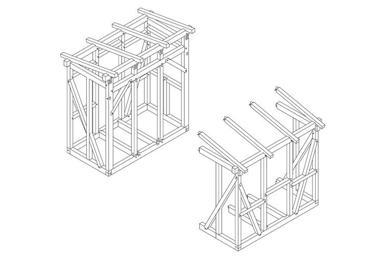 Habitação progressiva em madeira: estruturas que podem ser transformadas livremente por seus habitantes, Axonométrica. Image Cortesía de Arquitectura USM