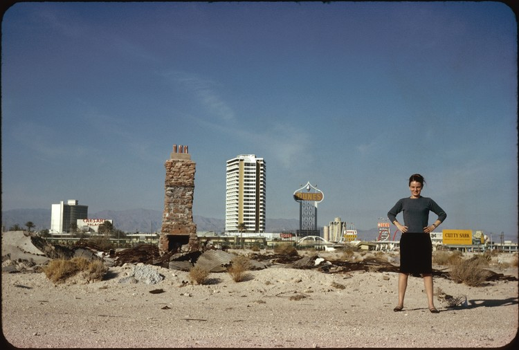 Denise Scott Brown to Receive the 2018 Soane Medal, Denise Scott Brown in front of The Strip, Las Vegas, NV, US, 1966, Photo by Robert Venturi, courtesy of Venturi, Scott Brown and Associates, Inc.