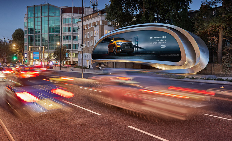 Zaha Hadid Architects Reveal Twisting Steel Billboard in West London, Courtesy of JCDecaux