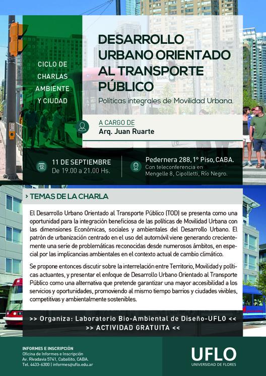 Ciclo de Charlas 'Ambiente y Ciudad' en Argentina: Desarrollo Urbano Orientado al Transporte Público, Cortesía de Universidad de Flores