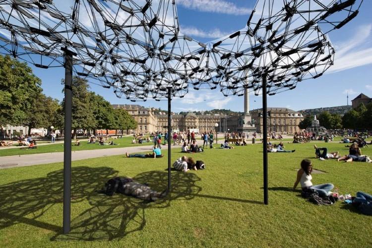 Estudantes da Universidade de Stuttgart criam cobertura adaptável com drones, Cobertura Cyber Physical Macro Material. Cortesia de University of Stuttgart
