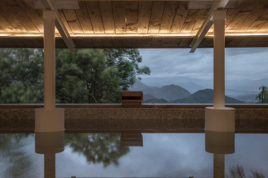 Cold Pavilion Interior View of Mountains. Image © Xuguo Tang