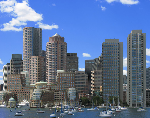 Downtown Boston, as seen from the harbor. Image via Wikimedia