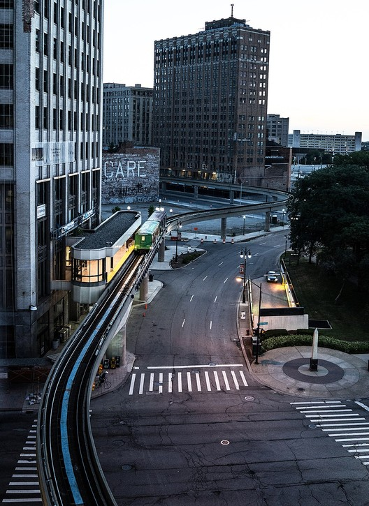 Detroit's elevated rail that runs through the downtown, as seen from the Madison Building. Image via Wikimedia
