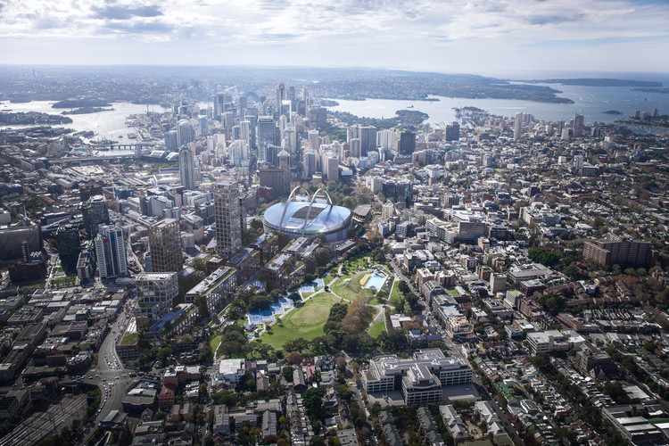 Bates Smart Plans to Suspend a New Sydney Stadium Above the City's Central Station, Sydney Football Stadium. Image Courtesy of Bates Smart