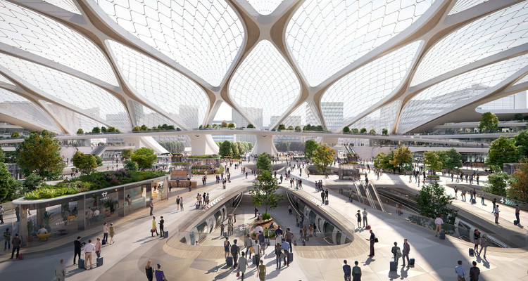 UNStudio Shares Vision for Tessellated Hyperloop Station, Courtesy of Plompmozes