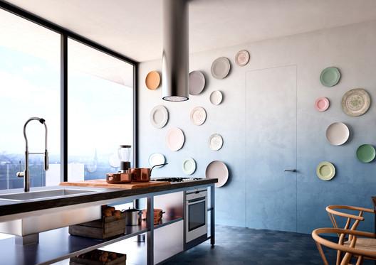 Linvisibile Alba Infinito Hinged Door, Microcement Finish. Image Courtesy of Linvisibile