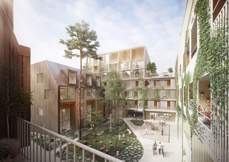 OOPEAA + Lundén Architecture Company Design Charred Timber Housing District in Helsinki, Courtesy of OOPEAA