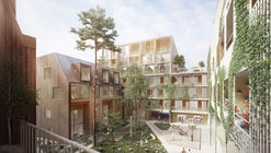 OOPEAA + Lundén Architecture Company Design Charred Timber Housing District in Helsinki
