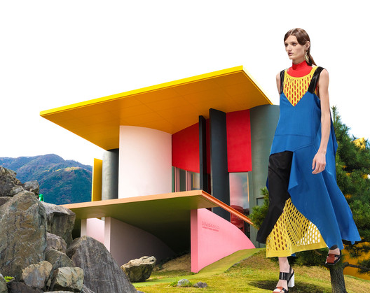 Color and undulated planes create a distinctive building in Reversible Destiny Park in Japan designed by architects Shusaka Arakawa and Madeline Gins. A color palette inspired by Lego as well as asymmetrical fabric surfaces dominate the Marni SS16 collection. Image Courtesy of Viktoria Al. Lytra