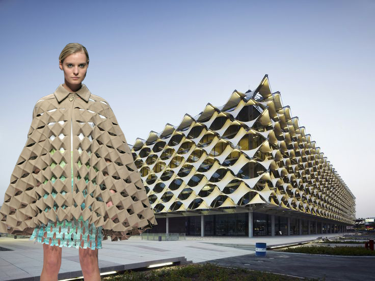 Does Form Follow Fashion? Viktoria Lytra's Montages Keep Iconic Architecture In Vogue, The conical shape used for different reasons, both by Frank Lloyd Wright at the Guggenheim Museum in New York and by Hussein Chalayan in the Table Dress AW2000, created two iconic examples of architecture and fashion. Image Courtesy of Viktoria Al. Lytra