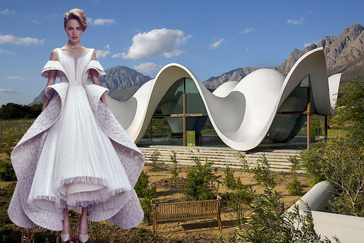 Fashion and architecture are often inspired by nature and its curved forms, that result in organic shapes. Distinct chapel among olive groves in South Africa designed by Steyn Studio and Ashi Studio Haute Couture AW17-18 collection. Image Courtesy of Viktoria Al. Lytra