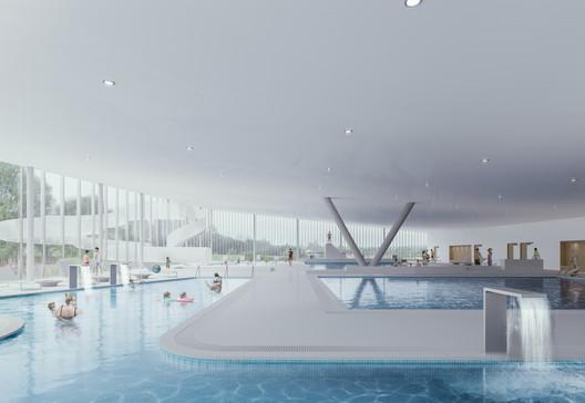 Mondorf-les-Bains Velodrome and Sports Complex. Image Courtesy of Mecanoo