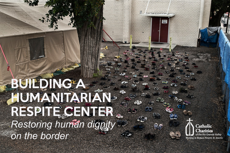 "Open Call: Design a Humanitarian Respite Center - Restoring Human Dignity on the Border, ""250 soles entering the humanitarian respite center in downtown McAllen, Texas"" Photo Credit: Verónica Cárdenas"