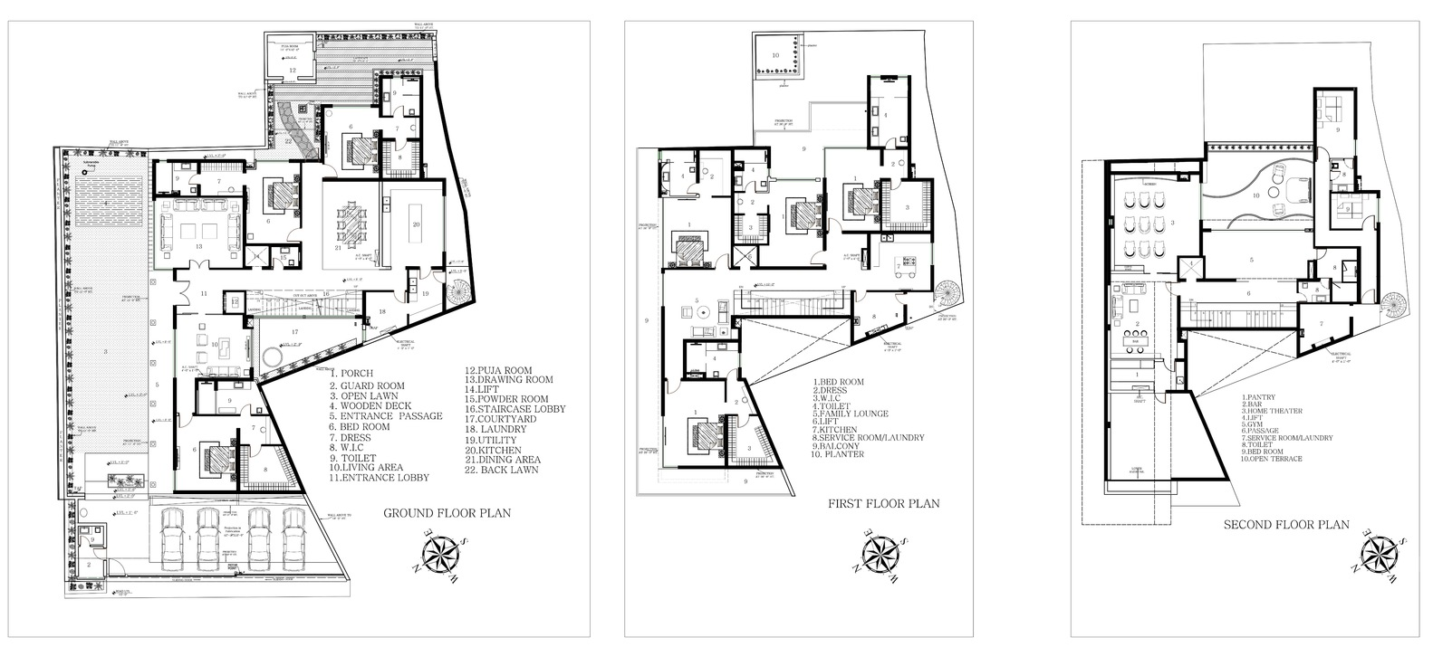 An Indian Modern House / 23DC Architects. Floor Plans
