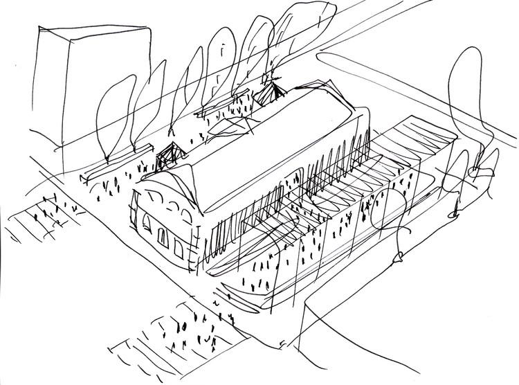 Selección de los mejores dibujos arquitectónicos: Adolfo Mondejar, Croquis Concurso Nacional Registro Civil. Image Cortesía de Adolfo Mondejar
