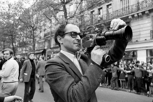 Jean Luc Godard films protests in Paris in 1968