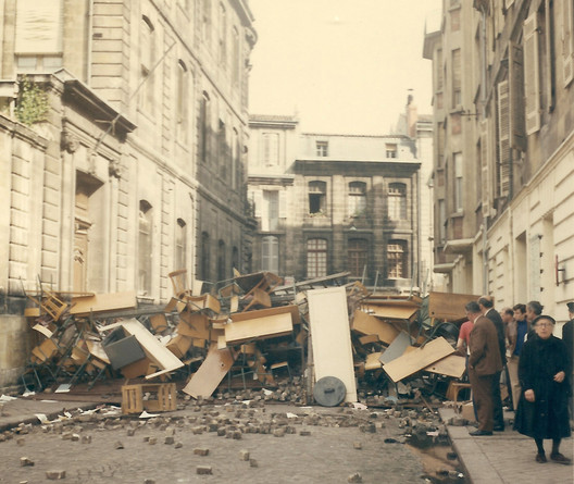 Barricades in the streets of Bordeaux during the May 1968 protests in France. ImageCourtesy of Wikimedia