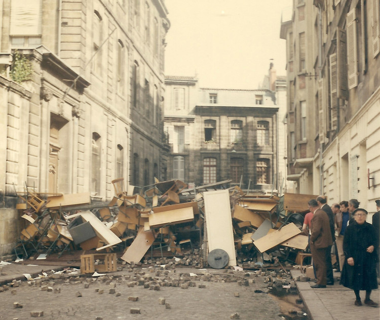 Words on the Street: Art, Architecture, and the Public Protest, Barricades in the streets of Bordeaux during the May 1968 protests in France. ImageCourtesy of Wikimedia