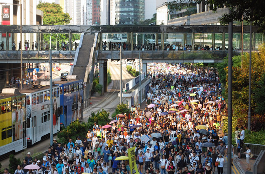 Protests in the streets of Hong Kong in . ImageCourtesy of Wikimedia