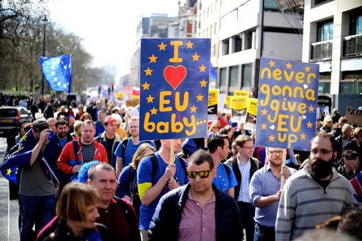 Protests in London following the UK's referendum vote to leave the European Union. ImageCourtesy of Wikimedia