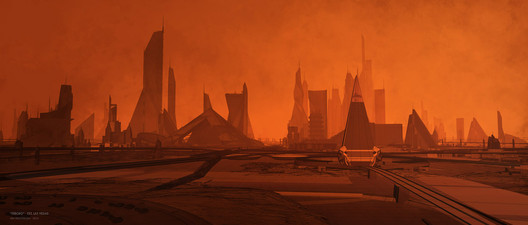 """An unrecognizable Los Angeles skyline in """"Blade Runner 2049."""""""
