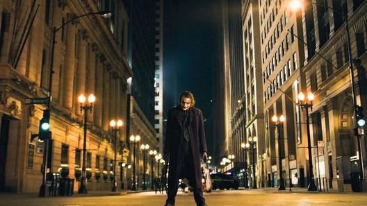 "Gotham frames the Joker in this pivotal scene from ""The Dark Knight."""