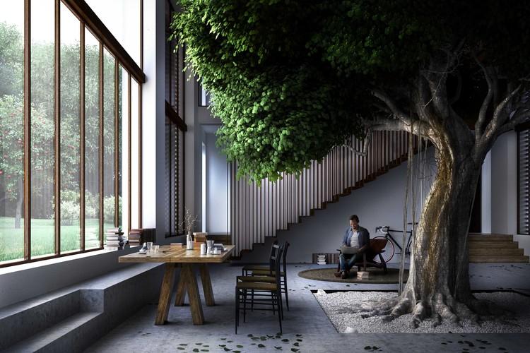 Carlo Ratti Associati Places 30-Foot-High Tree Inside Renovated Italian Farmhouse, Courtesy of Carlo Ratti Associati