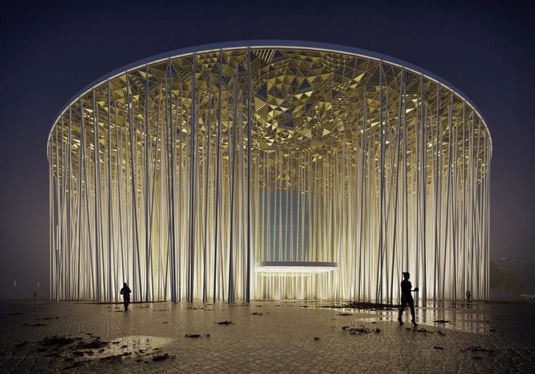 Steven Chilton Architects Builds a Forest of White Columns Around Wuxi Taihu Show Theater, Wuxi Show Theatre. Image Courtesy of Steven Chilton Architects