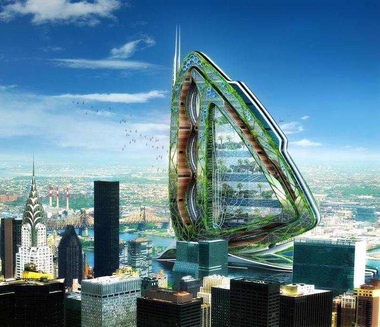 """Também pela firma de Vincent Callebaut, o projeto """"Dragonfly"""" propõe uma fazenda urbana vertical no coração do rio Hudson, em Nova York."""