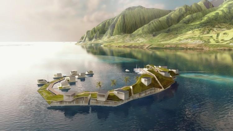 O Projeto Ilha Flutuante proposto para a Polinésia Francesa nunca se tornou realidade, mas as cidades flutuantes serão o futuro da vida urbana ?. Imagem © Blue Frontiers, através do jornal The New York Times