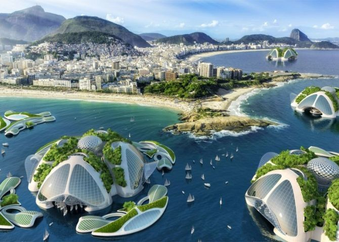 Reimagining Cities in the Face of Climate Change and Migration, Belgian architect Vincent Callebaut proposes recycling ocean trash as building materials for his futuristic floating cities.