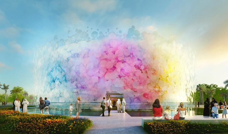 Paul Cocksedge Designs Living Watercolor Pavilion for EXPO 2020, Living Watercolor UK Pavilion. Image Courtesy of Minmud
