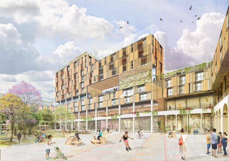 Ecosistema Urbano apresenta Febres Cordero, a transformação de uma escola em um espaço de uso misto no Equador, Cortesía de Ecosistema Urbano