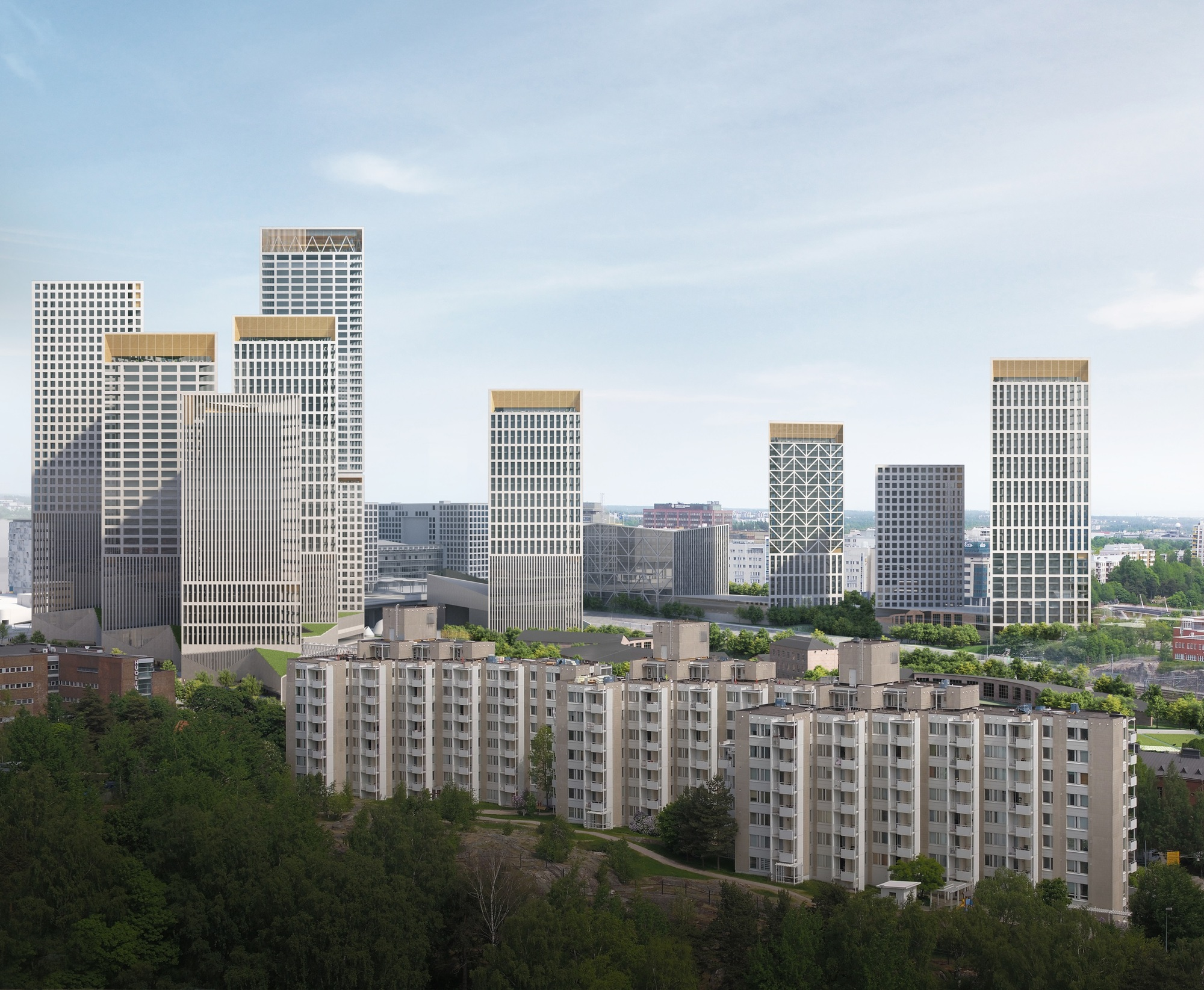 Lahdelma & Mahlamäki Create Triangular Towers for a New High-Rise District in Helsinki