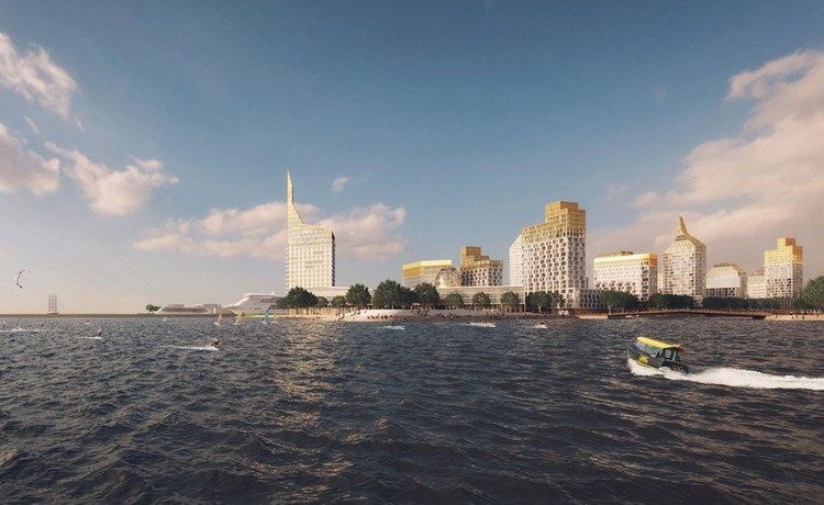 Orange Architects + KCAP Create a Golden City Block for St. Petersburg in Russia, Golden City. Image Courtesy of KCAP and Orange Architects