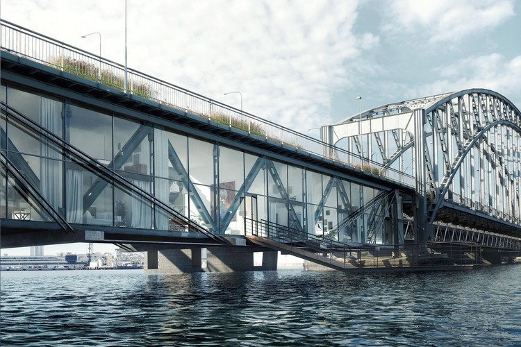 Urban Nouveau Aims to Save Stockholm's Lidingö Bridge by Combining New Housing, Lidingö Bridge Village. Image Courtesy of Urban Nouveau