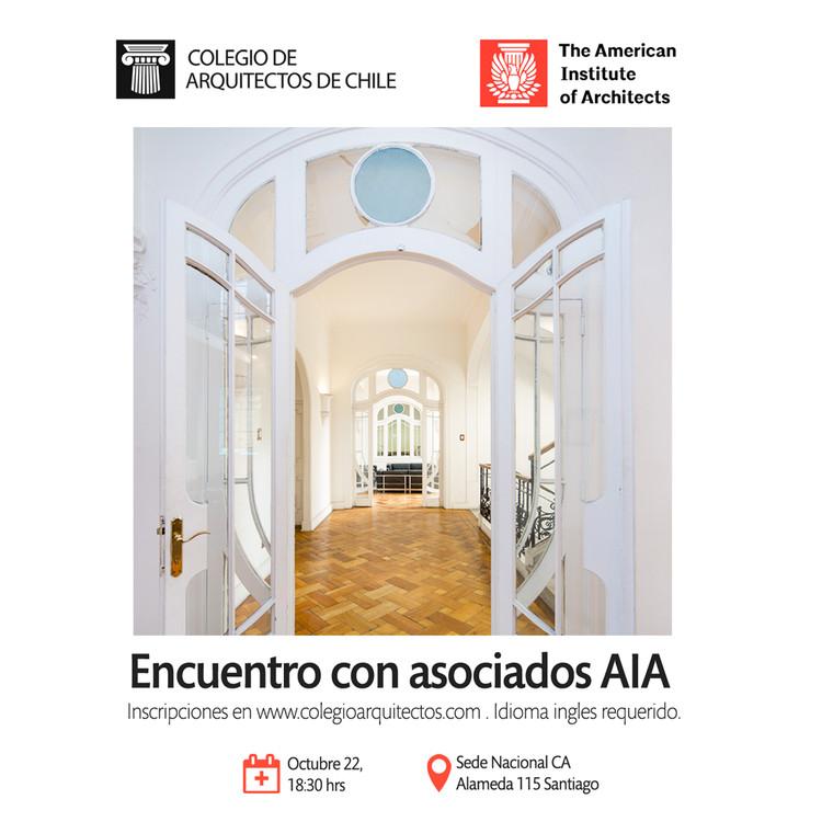 Participa de un encuentro con asociados de The American Institute of Architects (AIA) en el Colegio de Arquitectos de Chile, Colegio de Arquitectos de Chile