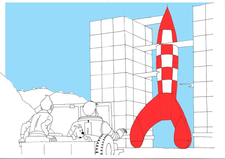 """Los arquitectos y diseñadores debemos evolucionar más rápido que nuestro contexto, Dibujo reinterpretativo de """"Objetivo: la Luna"""",  decimosexto álbum de Las aventuras de Tintin. Image © Jerónimo van Schendel Erice"""