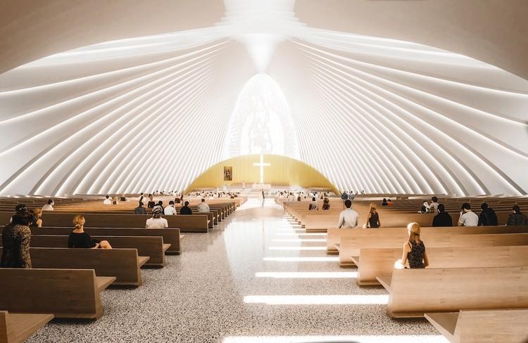 Conheça a proposta de Sordo Madaleno Arquitectos para a Catedral de Querétaro no México, Vista frontal Interior. Render por © Angel Segovia. Imagem © Sordo Madaleno Arquitectos
