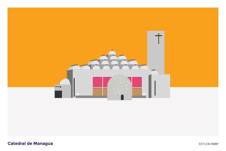 A Catedral de Managua, de Ricardo Legorreta, comemora 25 anos com esta série de ilustrações, © Estudio1286
