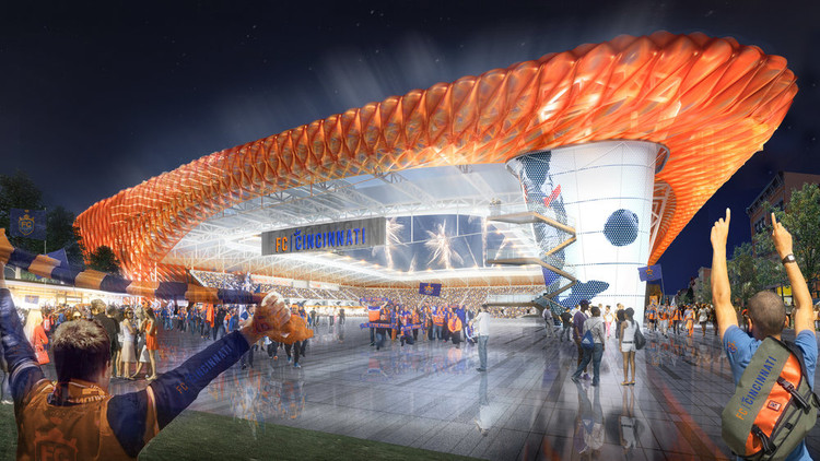 Meis Architects Design FC Cincinnati Stadium with ETFE Pillows, FC Cincinnati. Image Courtesy of Meis Architects