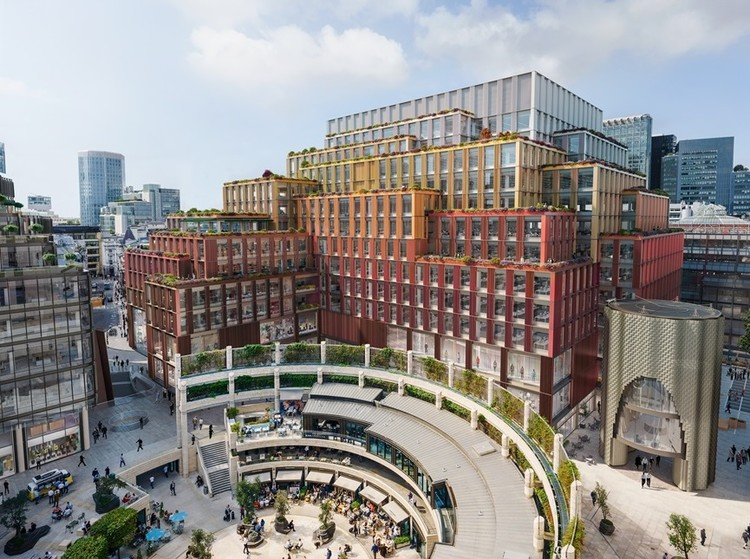 AHMM Designs 'Earthy and Autumnal' Block for City of London Campus, 1-2 Broadgate. Image Courtesy of AHMM