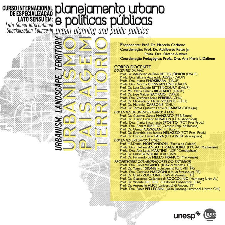 Curso de especialização Planejamento Urbano e Políticas Públicas: Urbanismo, Paisagem e Território, Designer: Ërica Neves