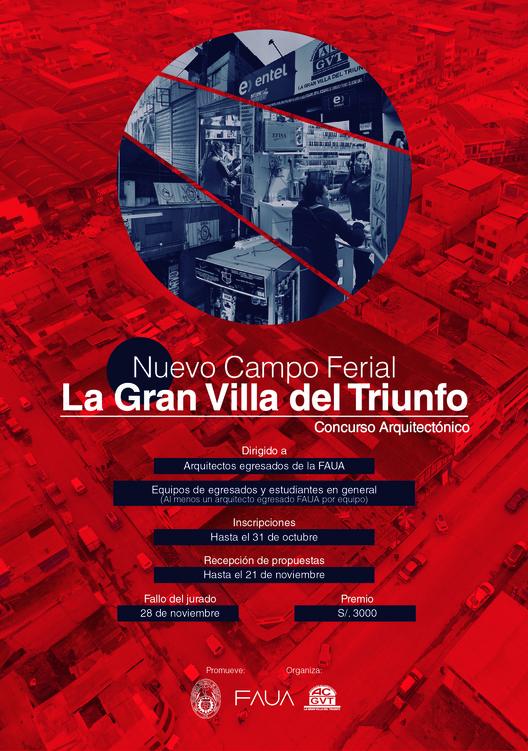 Concurso de Arquitectura: Anteproyecto para el nuevo campo ferial 'La Gran Villa del Triunfo' / Lima