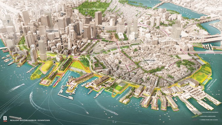 Boston Publishes Radical SCAPE Plans to Combat Climate Change, Downtown Boston Vision. Image © SCAPE / City of Boston